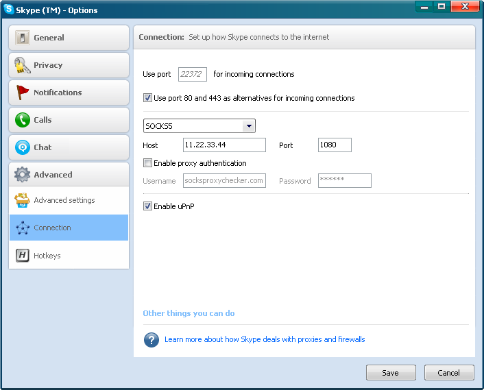 Skype Socks Proxy Settings